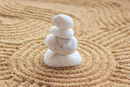 zen: Zen stone on raked sand