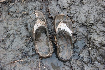 sandal: sandalia vieja sucia en lodosa