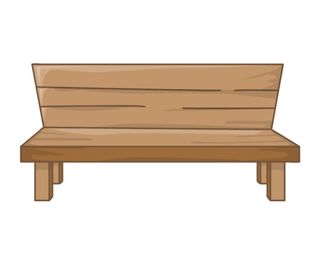Wooden bench isolated illustration on white background Illustration