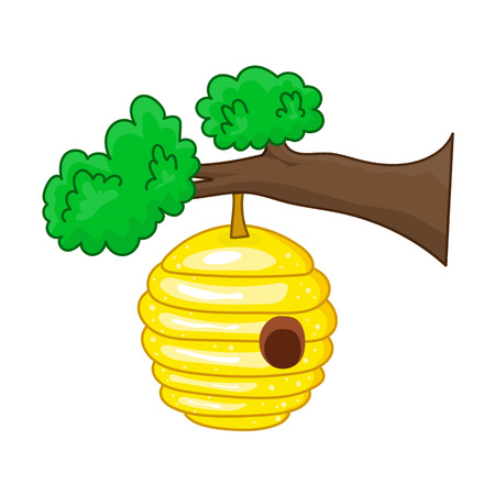 branch isolated: beehive hanging from a branch isolated on white background Illustration