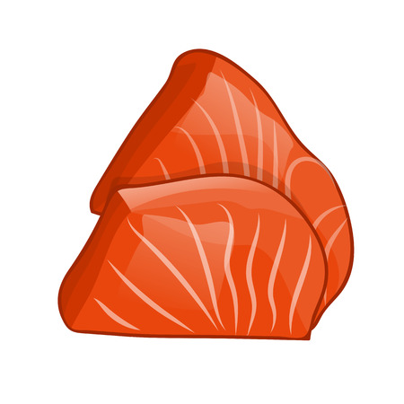 fillet: Fish steak of salmon isolated illustration on white background