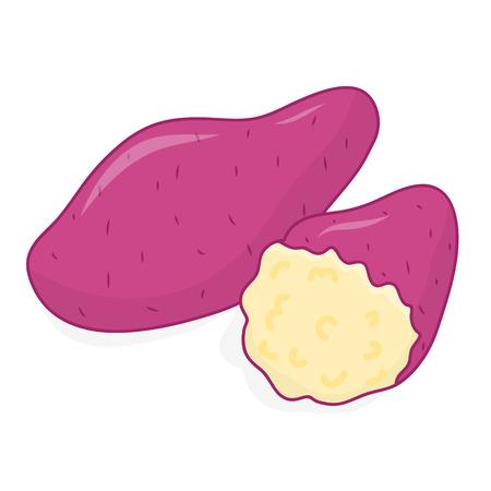 geïsoleerde zoete aardappel illustratie op witte achtergrond