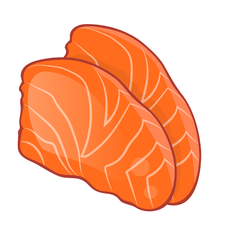 salmon fillet: Fish steak of salmon isolated illustration on white background