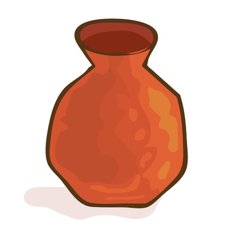 clay pot: Clay pot isolated illustration on white background