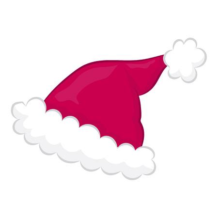 fur cap: Santa hat isolated illustration on white background