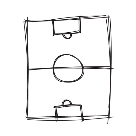 football kick: Hand draw soccer field Illustration
