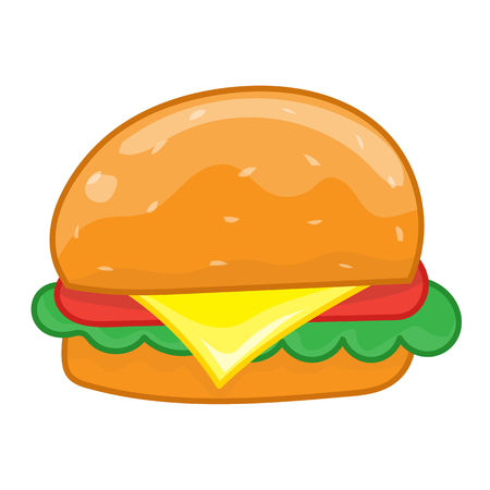 cheese burger: hamburger isolated illustration on white background