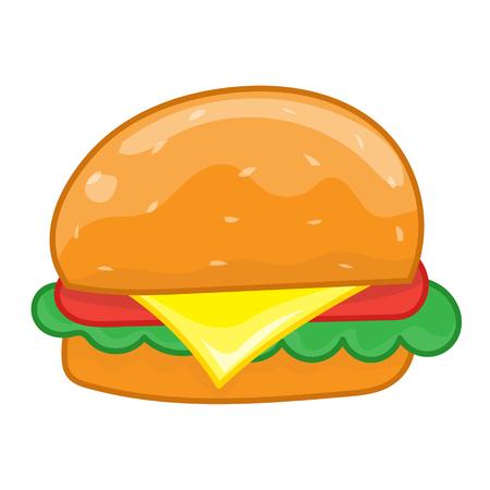 eating burger: hamburger isolated illustration on white background