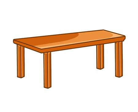 흰색 배경에 고립 된 나무 테이블 그림