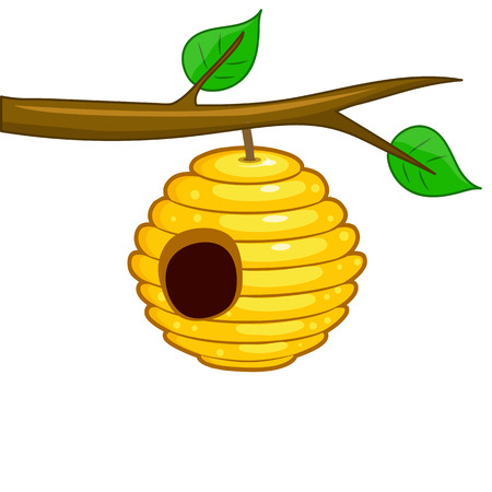 beehive hanging from a branch isolated on white background Vectores