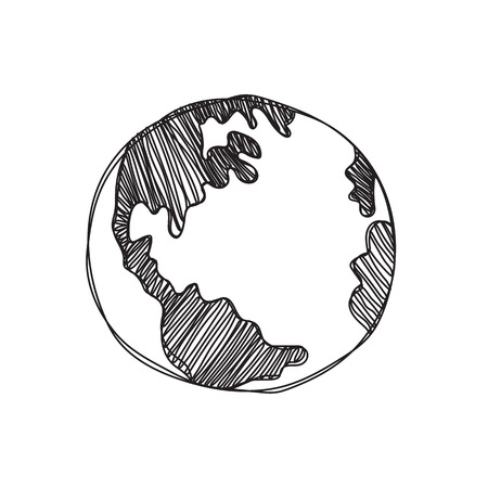 wereldbol: hand getrokken geïsoleerd globaal illustratie op witte achtergrond
