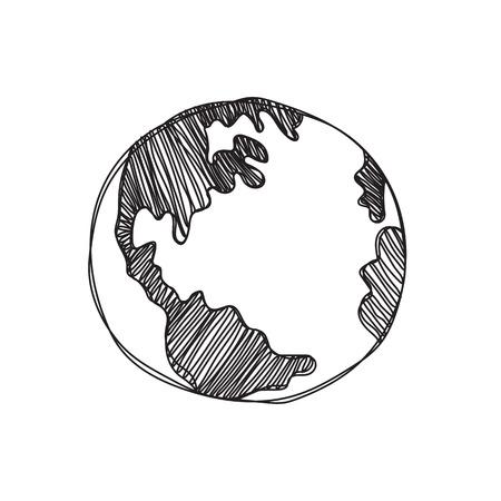 erde: Hand gezeichnet global Isolierte Darstellung auf weißem Hintergrund