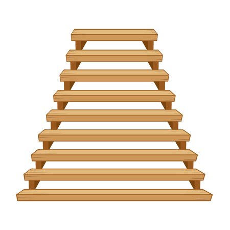 wooden stairs: Wooden stairs isolated illustration on white background