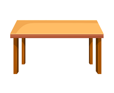 solid: Wooden table isolated illustration on white background