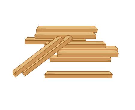 carpentry cartoon: wood planks isolated illustration on white background