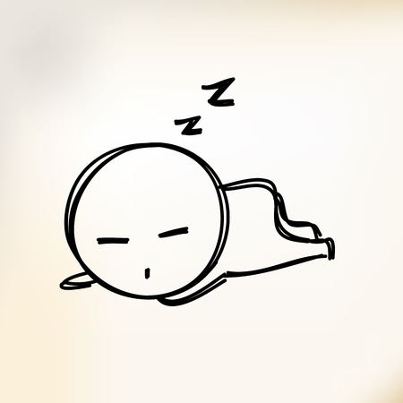 slumber: Hand draw human sleeping Isolated illustration