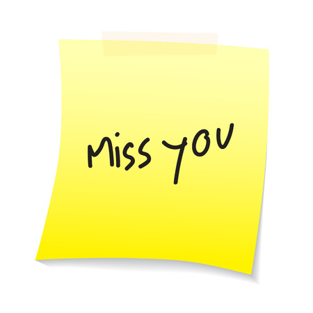 paper note: miss you text on paper note Illustration