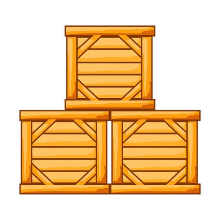 wood crate: wood box isolated illustration on white background Illustration