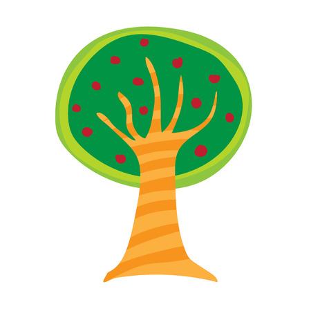 tree isolated: colorful tree isolated illustration on white background