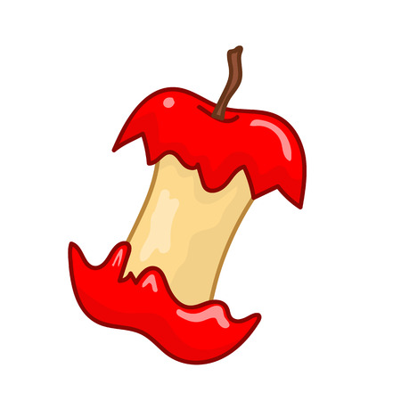 apple bite: bitten red apple isolated illustration on white background