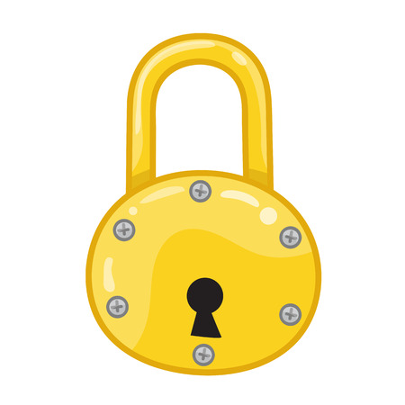iron defense: Padlock isolated illustration on white background Illustration