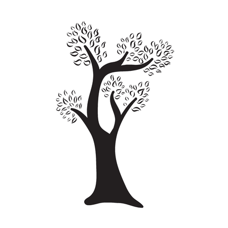 tree isolated: Tree silhouette isolated illustration on white background