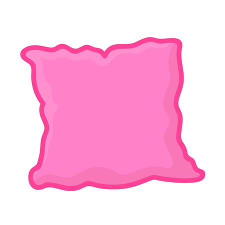 headboard: pink pillow isolated illustration on white background