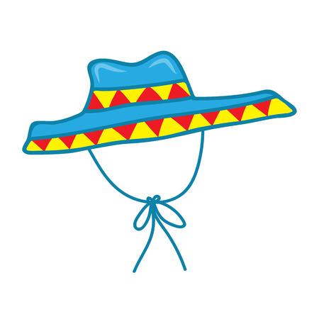 straw hat: sombrero straw hat isolated illustration on white background Illustration