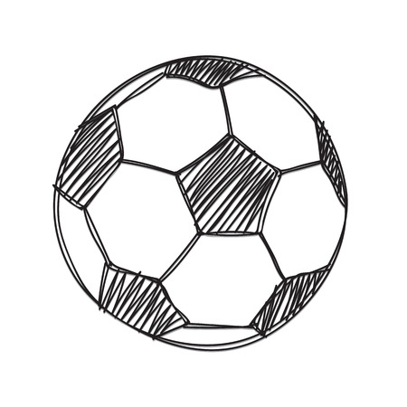free hand: Hand draw football ball isolated illustration on white background
