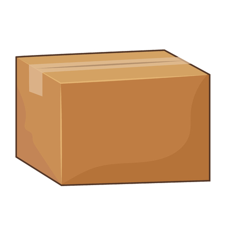 stored: Cardboard box isolated illustration on white background