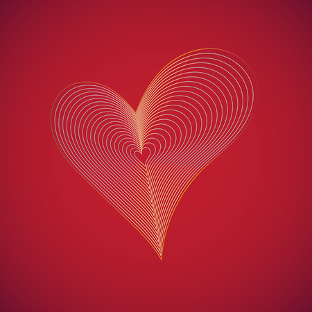 gold heart: gold heart on red background Illustration