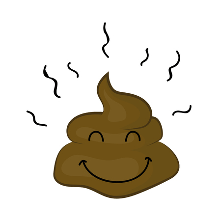 manure: cute Poop cartoon character isolated illustration on white background