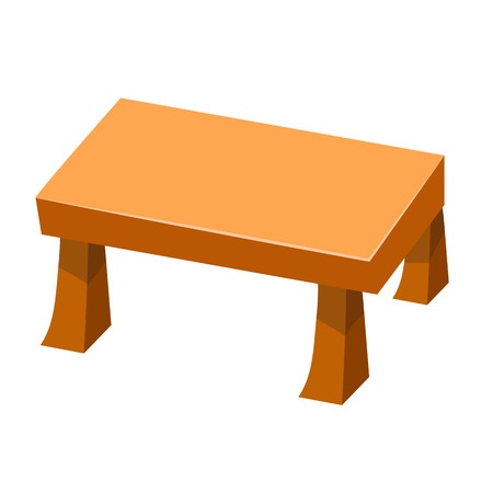 wood craft: Wooden table isolated illustration on white background