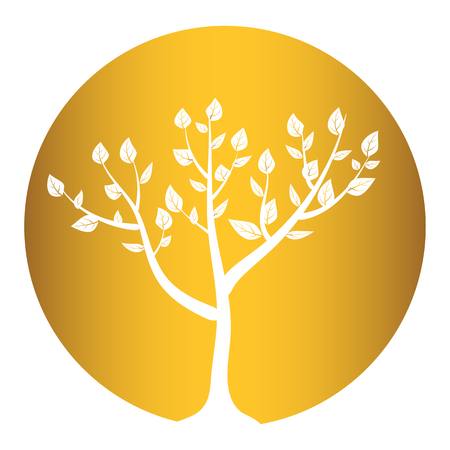tree isolated on gold round background