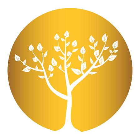 genealogical: tree isolated on gold round background