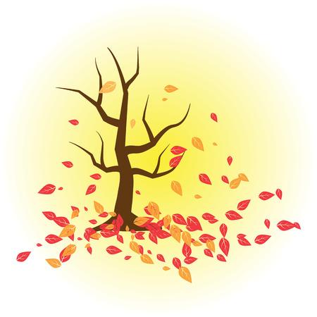 Autumn Tree isolated illustration on white background