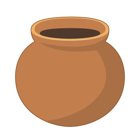 Clay pot isolated illustration on white background