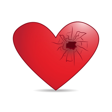 infarct: red heart with cracked hole isolated illustration on white background