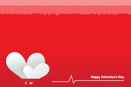 white day: white heart on red background, valentines day Illustration