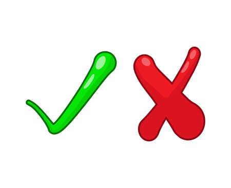 Right and wrong check mark signs on white background Illustration