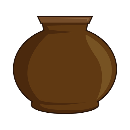 Clay pot brown color classical crafting isolated vector illustration