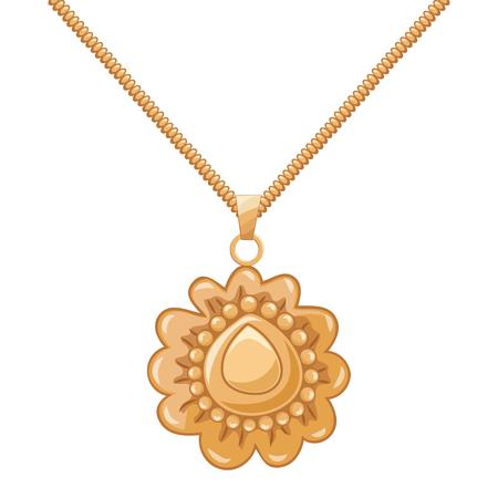 Necklace gold chain pendant. vector illustration. Stock Illustratie