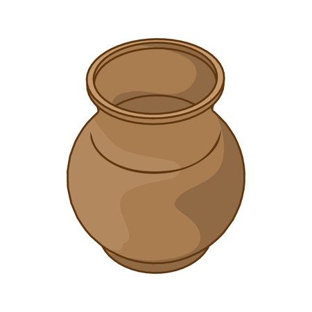 Clay pot isolated illustration on white background