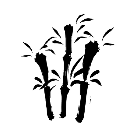 Branches of a bamboo silhouette, vector illustration isolated on a white background