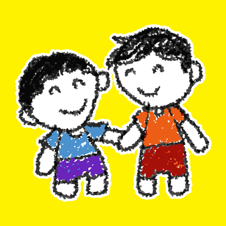 catoon Two kids holding hands together Illustration