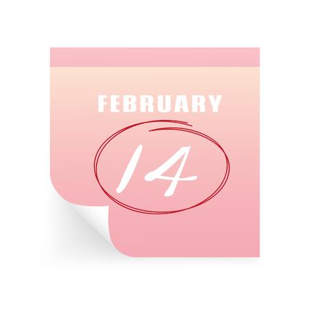 massage 14 february on sticky note. Illustration of love and valentine day Illustration