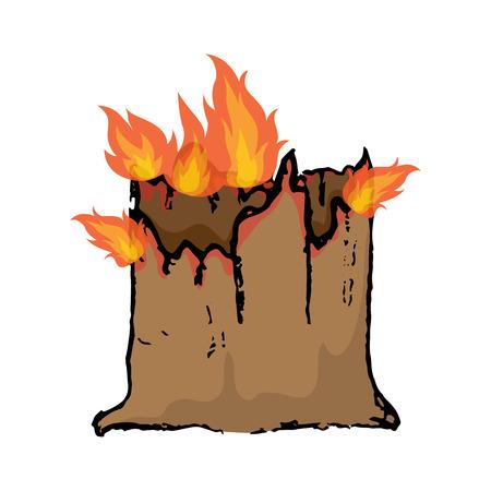 Burning tree stump. Vector illustration on white background Illustration