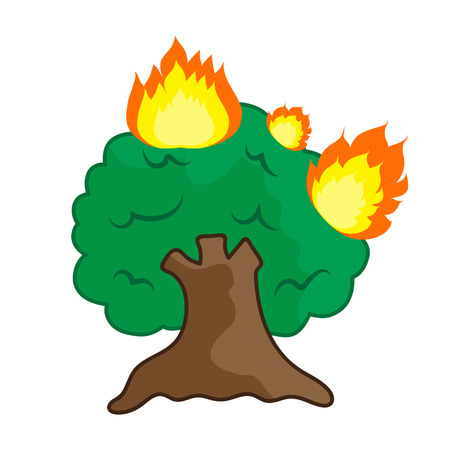 forest fire cartoon isolated illustration on white background