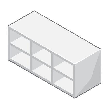 Empty white shelves isolated illustration on white background