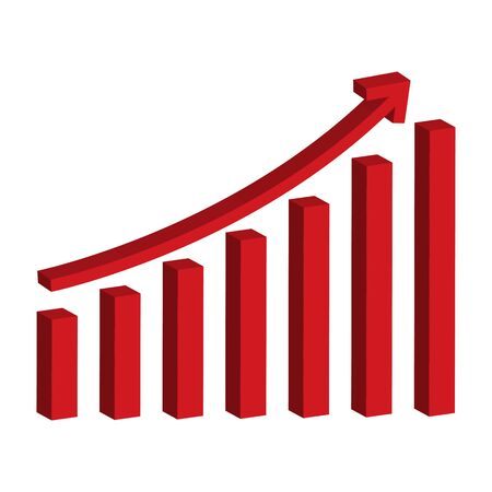 Business graph with increasing arrow. growing graph icon Çizim